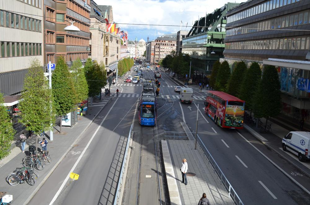 Stockholm caddeleri ve sembolik tramvay