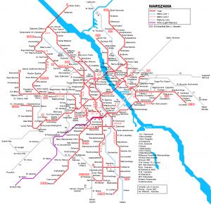 Varşova metro ve tramvay hattı