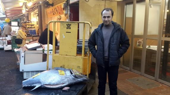 Tokyo balık pazarı ve dev orkinostan kalanlar