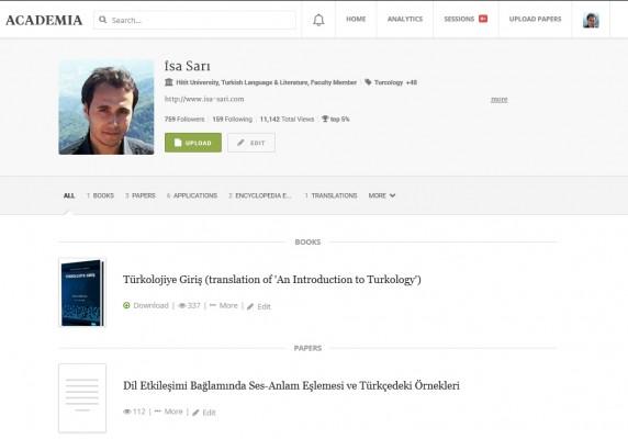 Academia.edu sitesinde profil sayfası