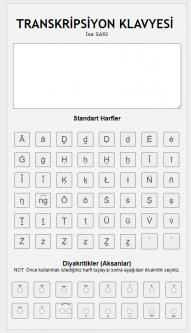 Transkripsiyon işaretleri klavyesi