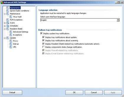 AVG Free gelişmiş ayarlar ekranı