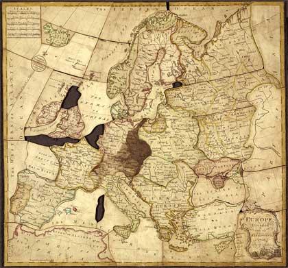 John Spilsbury'nin tasarladığı ilk yapboz şeklindeki harita
