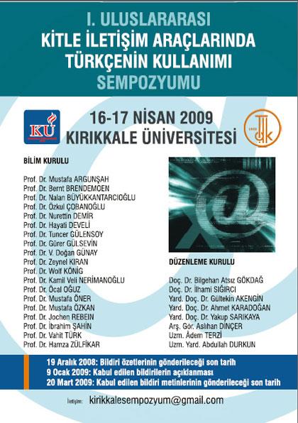 I. Uluslararası Kitle İletişim Araçlarında Türkçenin Kullanımı Sempozyumu