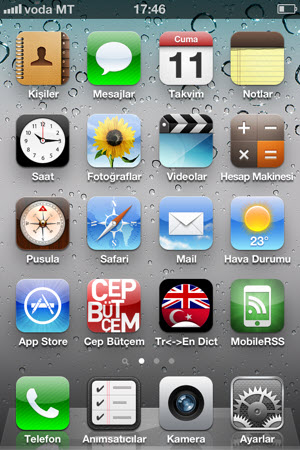 iPhone 4 menüsü