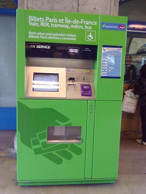 Paris Metro, RER ve diğer ulaşım araçları için bilet makineleri