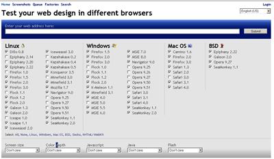 Browsershots, geniş seçenekleriyle oldukça kullanışlı