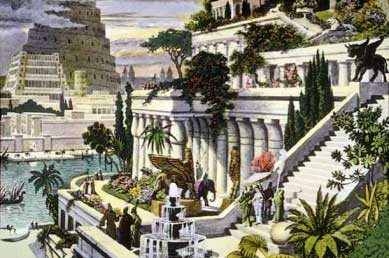 Asma bahçeleri ve kulesi ile Babil