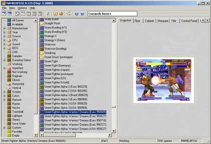 Mame32'nin ana ekranı