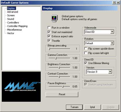 Mame32'nin ayarlar ekranı